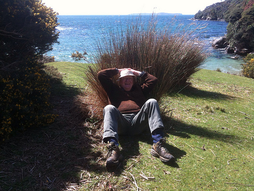 John relaxing on Ulva Island