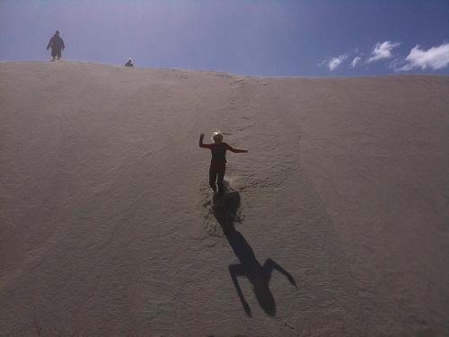 Farewell Spit sanddune descent
