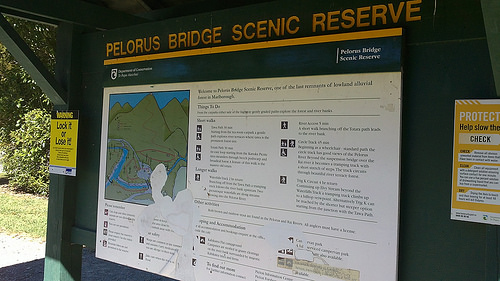 Pelorus Bridge Scenic Reserve sign