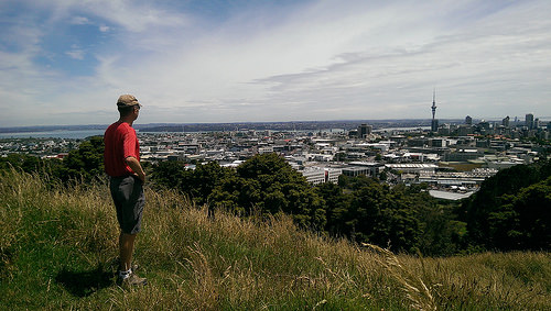 Michael viewing Auckland from Mt Eden