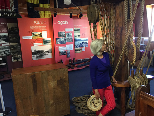The Edwin Fox exhibit with ropes