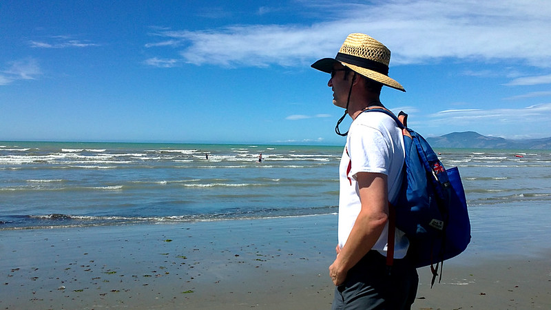 walking the beaches while on holiday in New Zealand