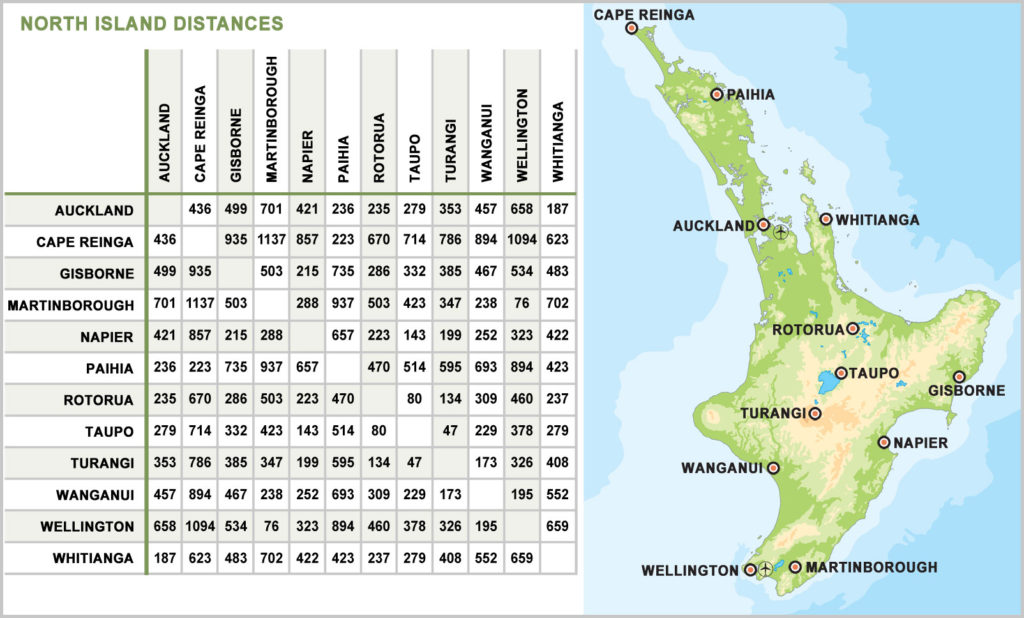 Map Of New Zealand North Island.New Zealand Travel Distances Guest New Zealand
