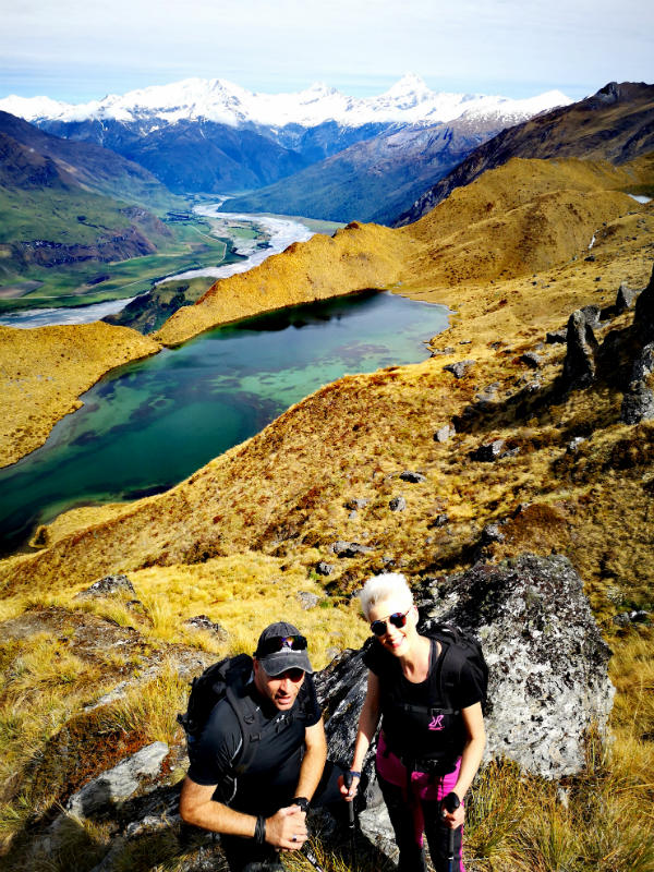petra and hubi with alpine lake heli hiking wanaka
