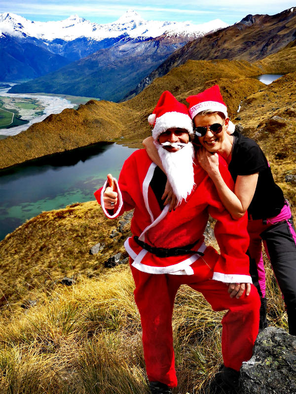 santa claus at alpine lakes heli hiking wanaka