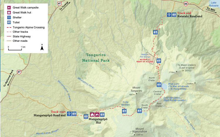 Tongariro Alpine Crossing Hiking Map