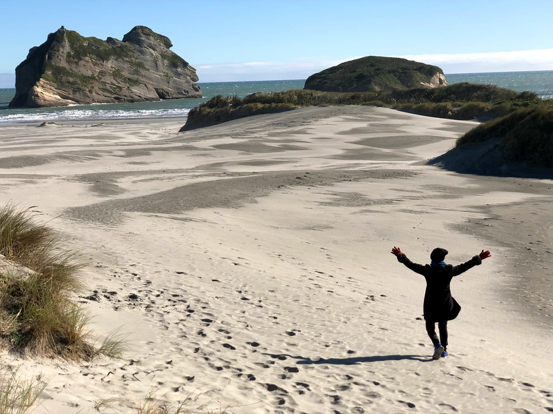 Wharariki Beach sand dunes while travelling Golden Bay