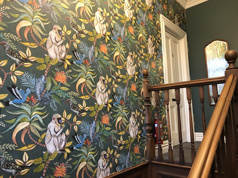 beautiful wall paper at the vicarage accommodation in geraldine